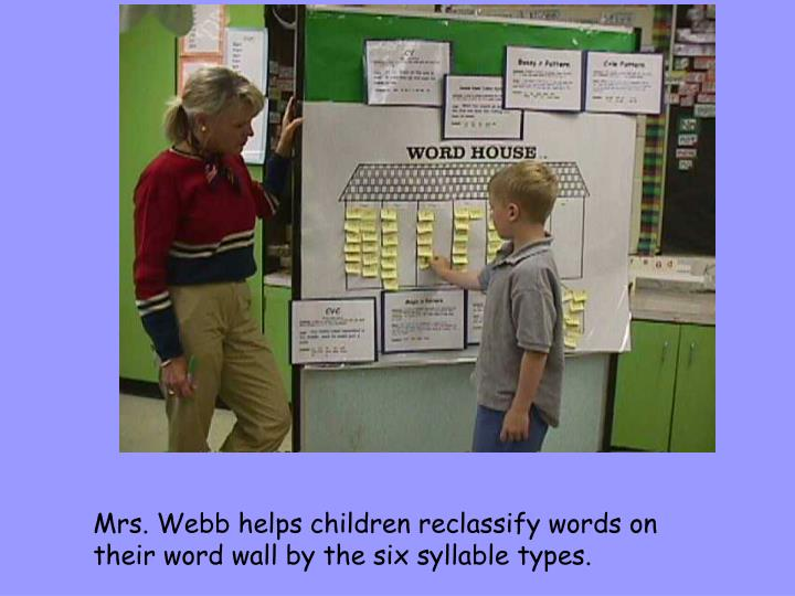 Mrs. Webb helps children reclassify words on their word wall by the six syllable types.
