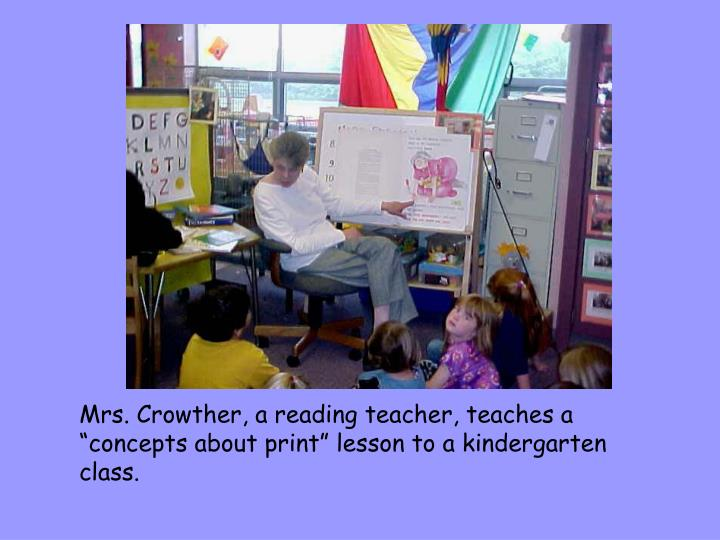 """Mrs. Crowther, a reading teacher, teaches a """"concepts about print"""" lesson to a kindergarten class."""