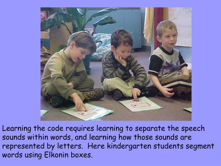 Learning the code requires learning to separate the speech sounds within words, and learning how those sounds are represented by letters.  Here kindergarten students segment words using Elkonin boxes.