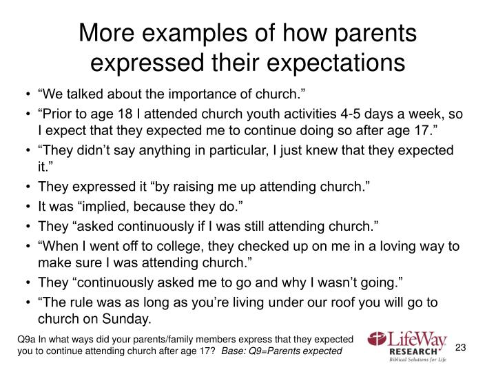 More examples of how parents expressed their expectations
