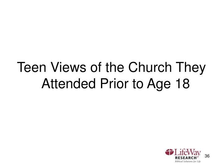 Teen Views of the Church They Attended Prior to Age 18