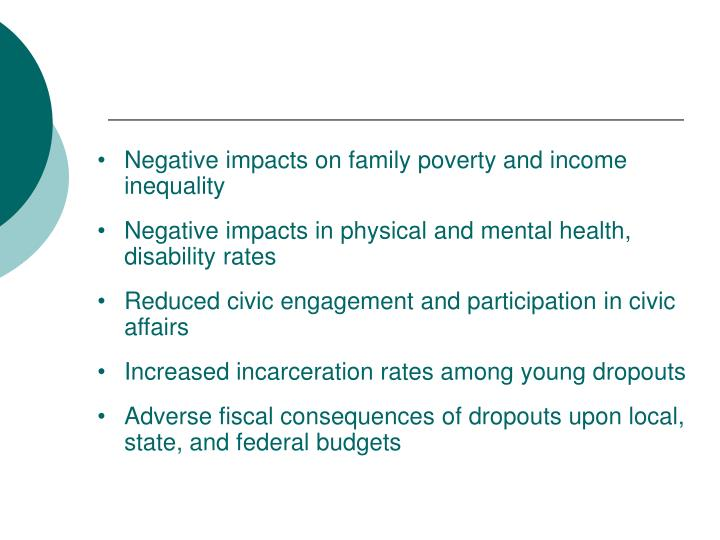 Negative impacts on family poverty and income inequality