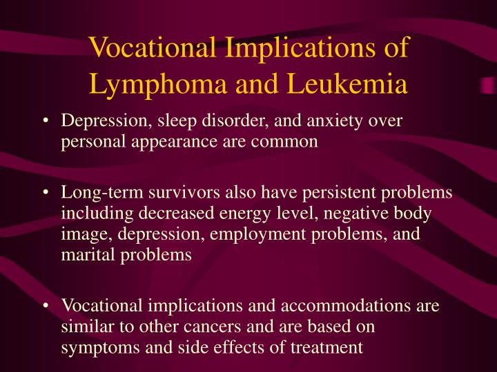 Vocational Implications of Lymphoma and Leukemia