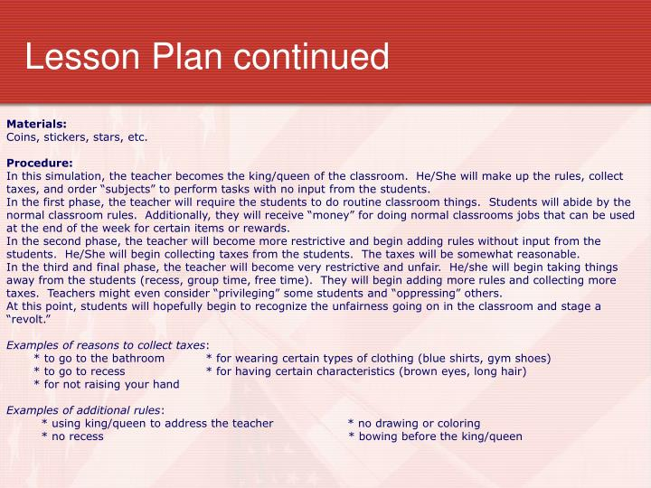 Lesson Plan continued