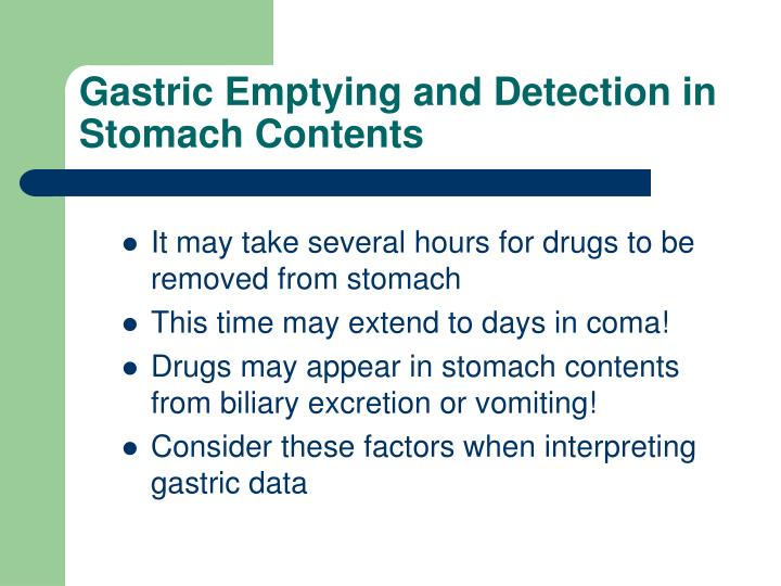 Gastric Emptying and Detection in Stomach Contents