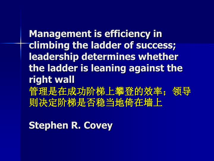 Management is efficiency in climbing the ladder of success; leadership determines whether the ladder is leaning against the right wall