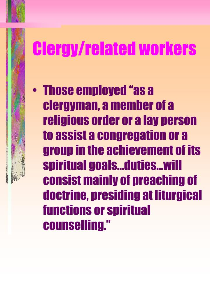 Clergy related workers