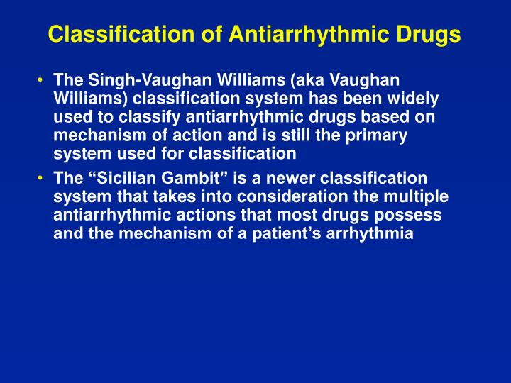 Classification of Antiarrhythmic Drugs