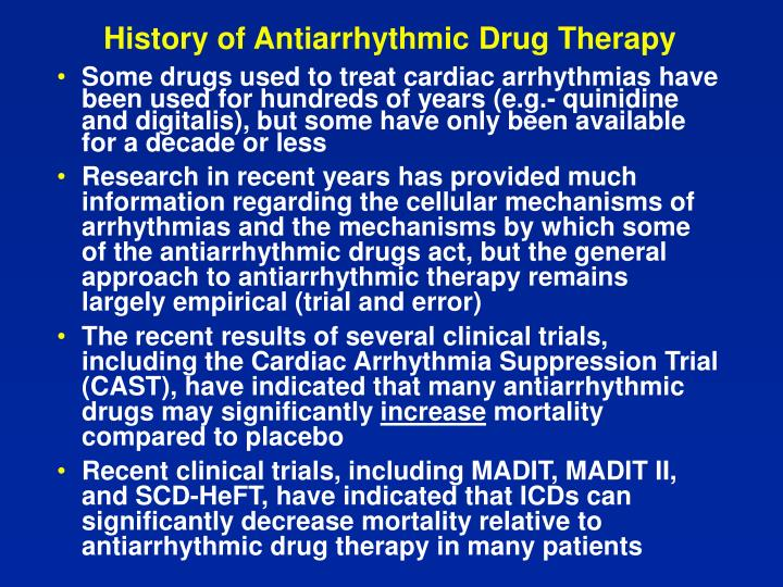 History of Antiarrhythmic Drug Therapy