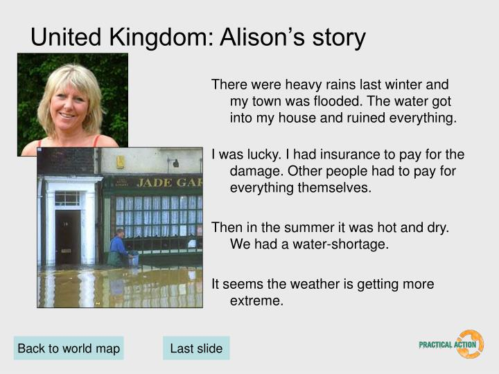 United Kingdom: Alison's story