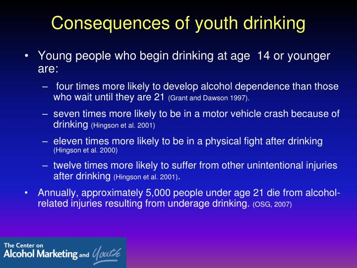 Consequences of youth drinking