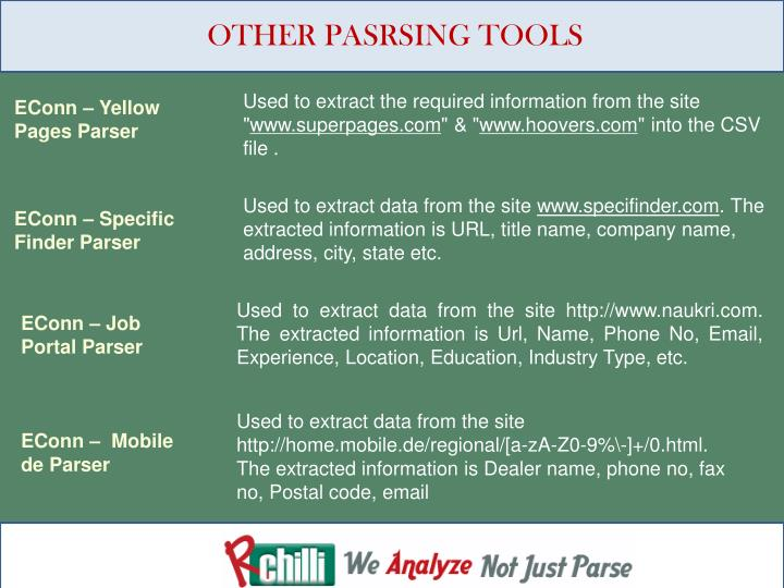 OTHER PASRSING TOOLS
