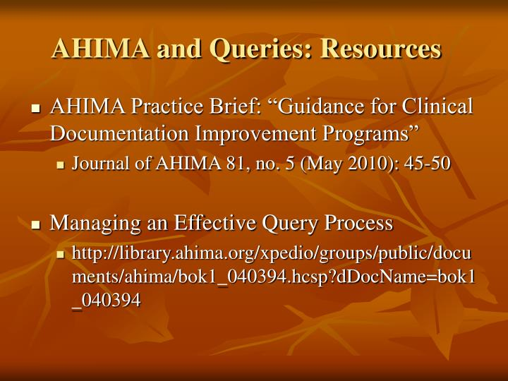 AHIMA and Queries: Resources