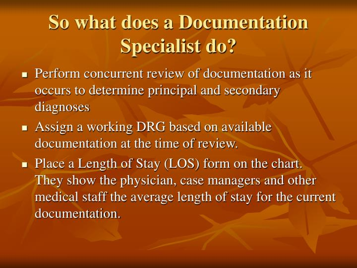 So what does a Documentation Specialist do?