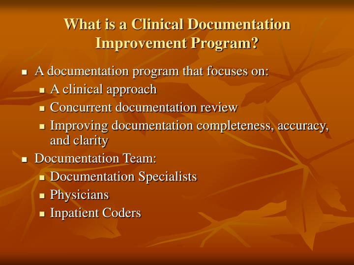 What is a clinical documentation improvement program