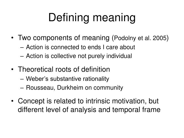 Defining meaning