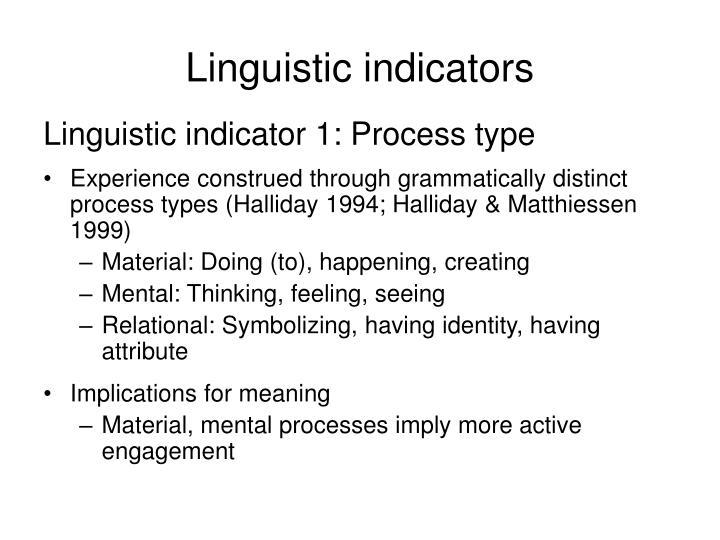 Linguistic indicators