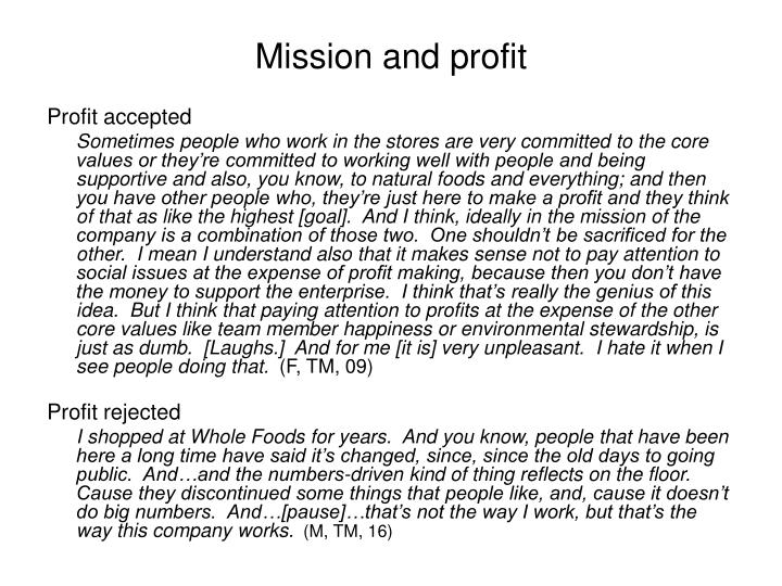 Mission and profit