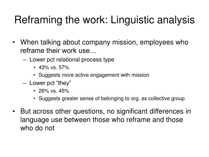 Reframing the work: Linguistic analysis