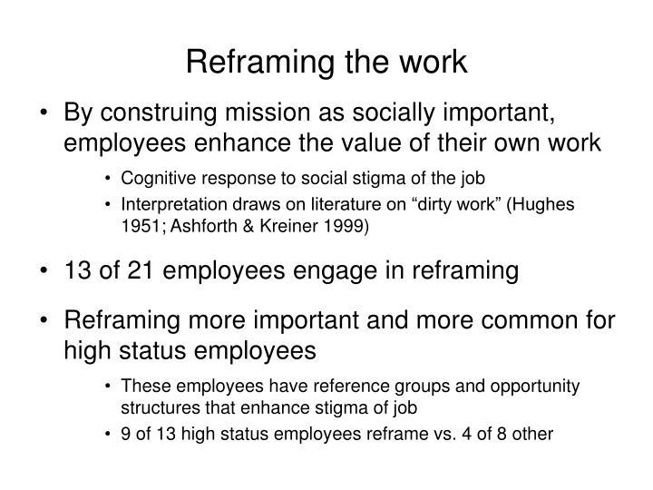 Reframing the work