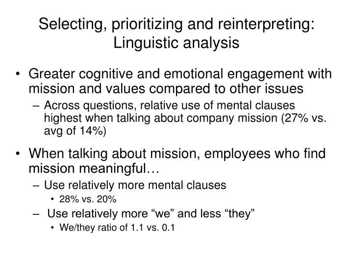 Selecting, prioritizing and reinterpreting: