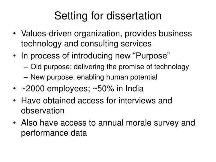 Setting for dissertation