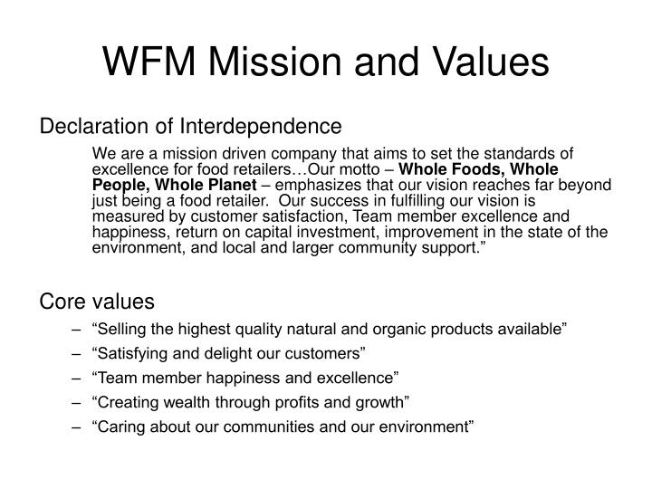 WFM Mission and Values
