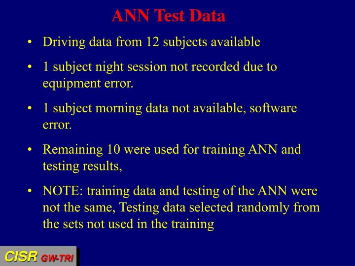 ANN Test Data