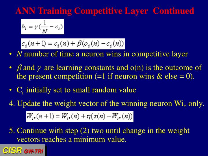 ANN Training Competitive Layer  Continued