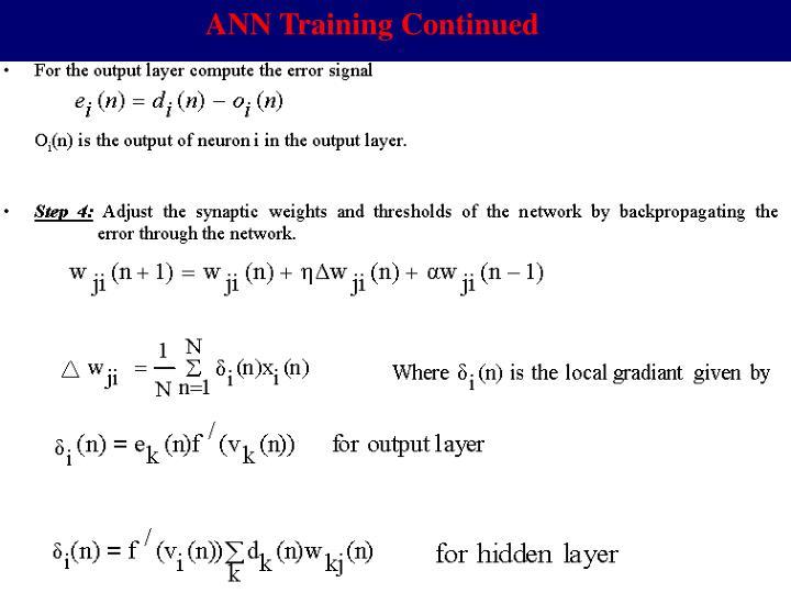 ANN Training Continued