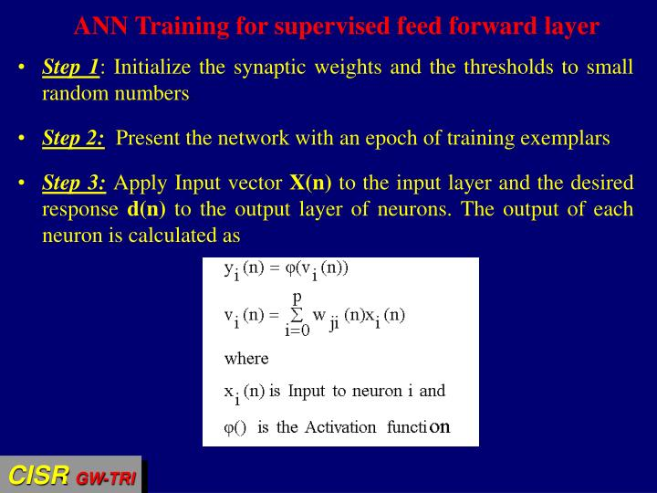 ANN Training for supervised feed forward layer