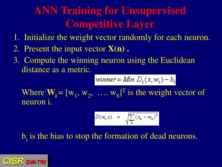 ANN Training for Unsupervised Competitive Layer