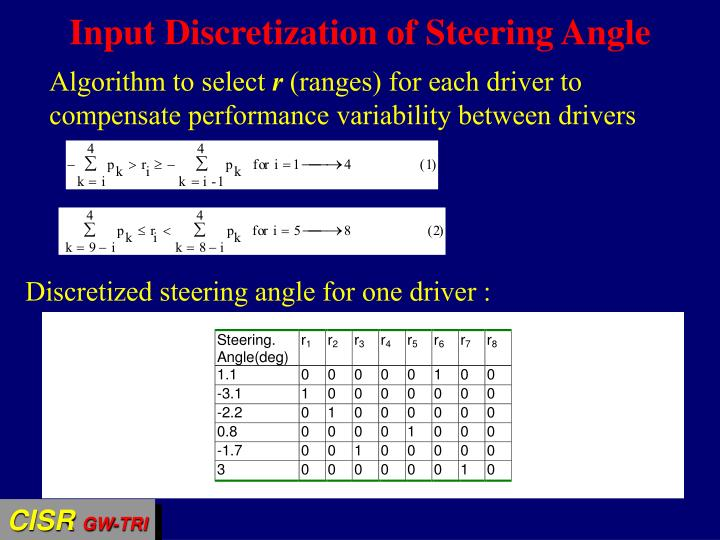 Input Discretization of Steering Angle