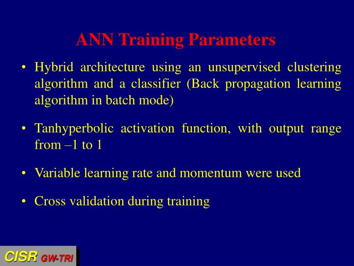 ANN Training Parameters