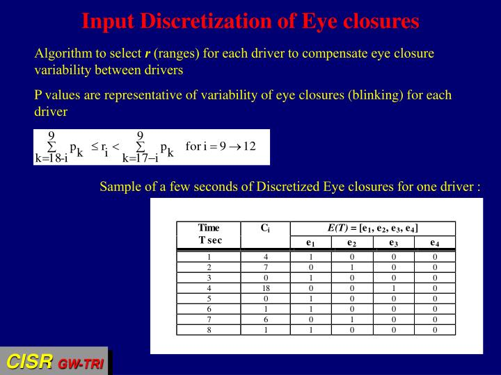 Input Discretization of Eye closures