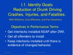i 1 identify goals reduction of drunk driving crashes injuries and fatalities