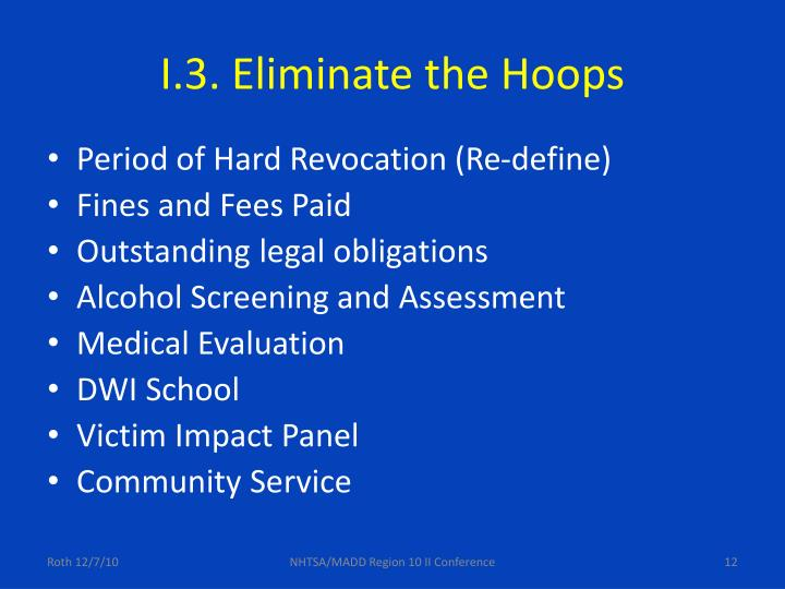 I.3. Eliminate the Hoops