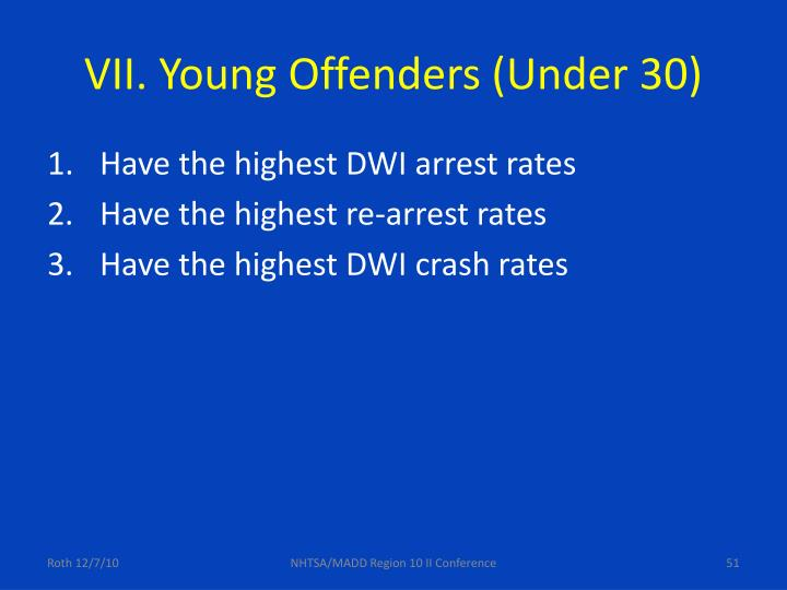 VII. Young Offenders (Under 30)