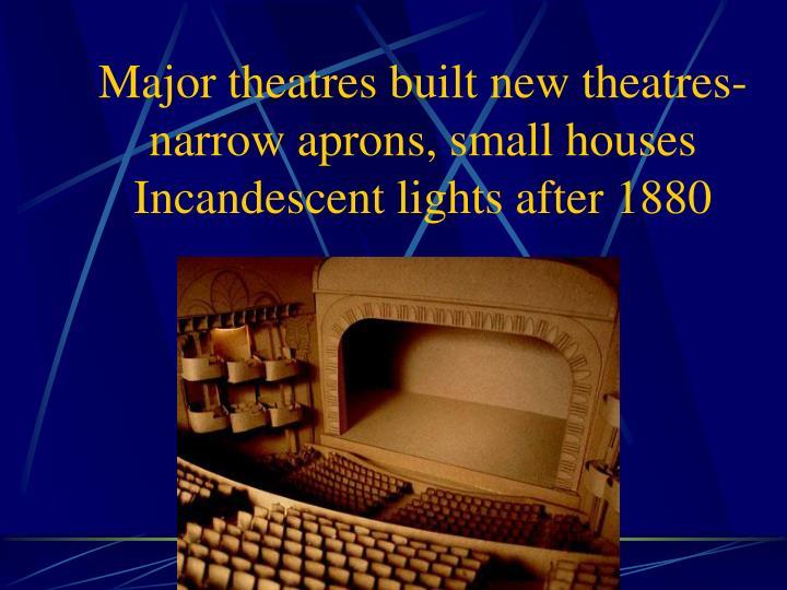 Major theatres built new theatres-narrow aprons, small houses