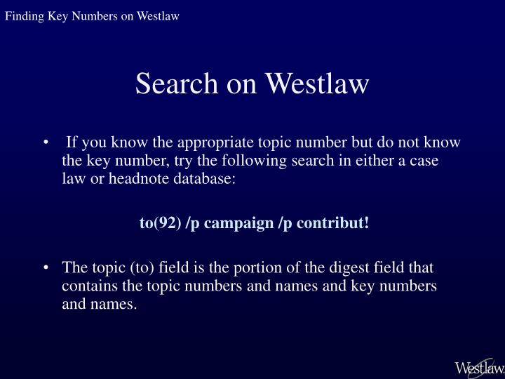 Finding Key Numbers on Westlaw