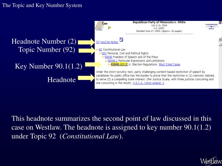 The Topic and Key Number System