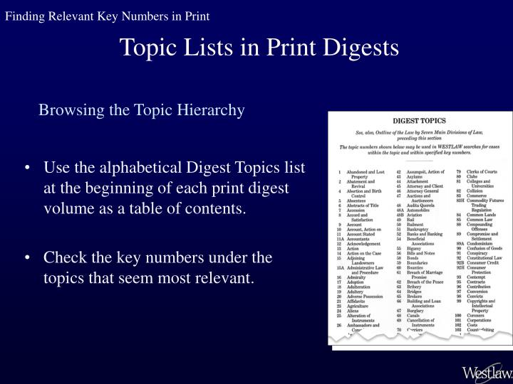Finding Relevant Key Numbers in Print