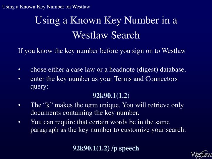 Using a Known Key Number on Westlaw