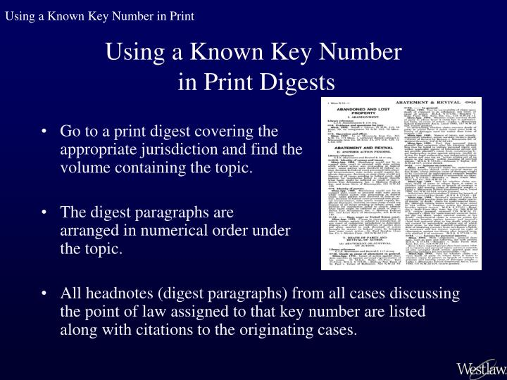 Using a Known Key Number in Print