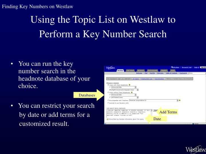 You can run the key number search in the headnote database of your choice.