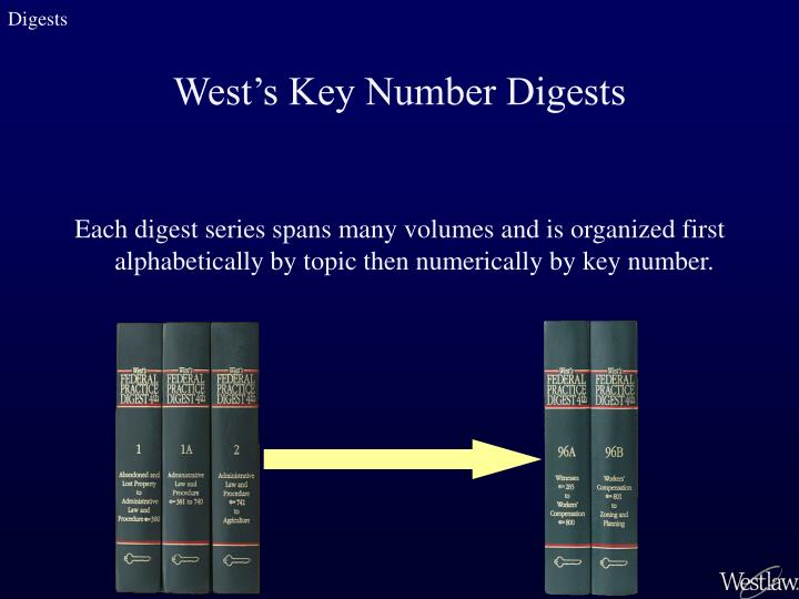 Each digest series spans many volumes and is organized first alphabetically by topic then numerically by key number.