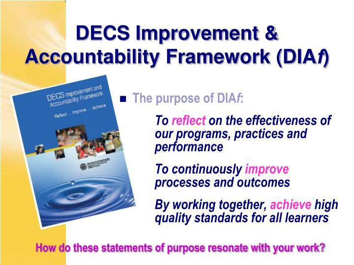 DECS Improvement & Accountability Framework (DIA