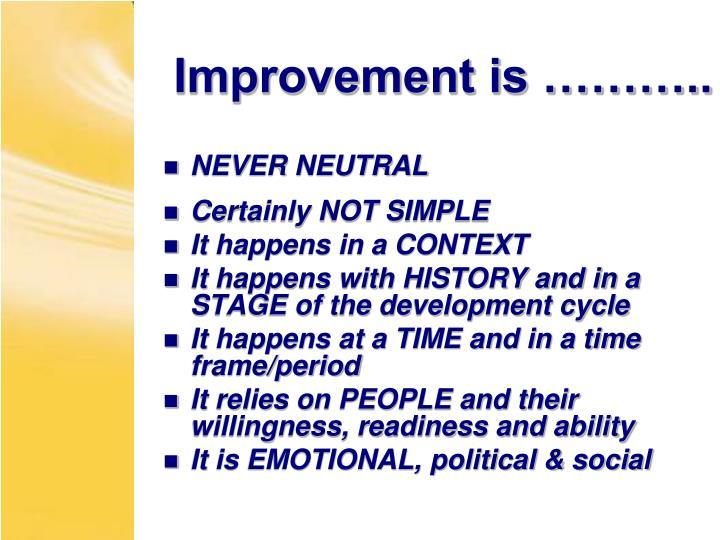 Improvement is ………..