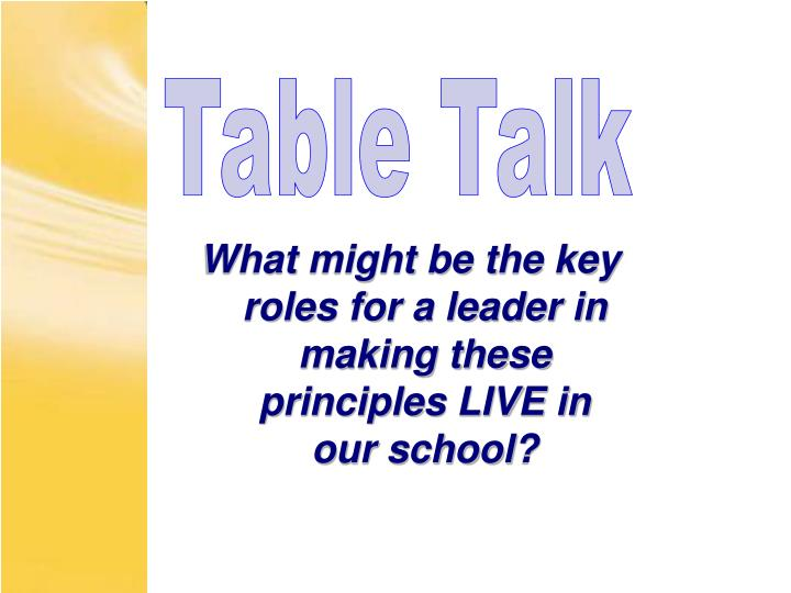 What might be the key roles for a leader in making these principles LIVE in our school?