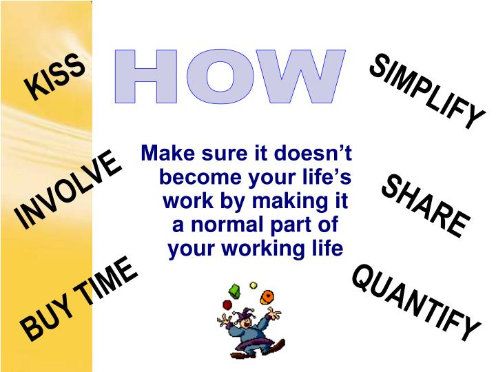 Make sure it doesn't become your life's work by making it a normal part of your working life